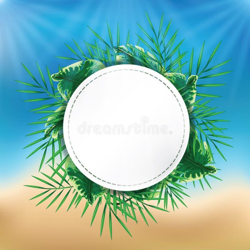 Exotisk djungelväxt med det vita tecknet på sommarstrandbakgrund stock illustrationer