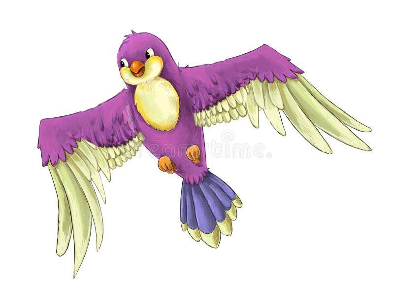 Exotisk färgrik fågel för tecknad film - flyga på vit bakgrund royaltyfri illustrationer
