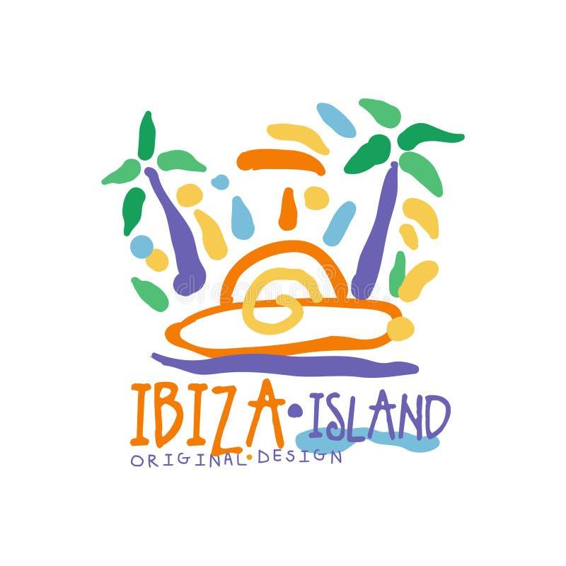 Exotisk färgrik logo för sommarsemester med den Ibiza ön stock illustrationer