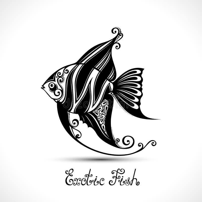 Exotisk fisk för vektor Mönstrat hav Logo Collection stock illustrationer