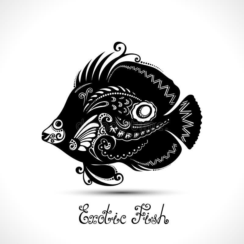Exotisk fisk för vektor Mönstrat hav Logo Collection royaltyfri illustrationer