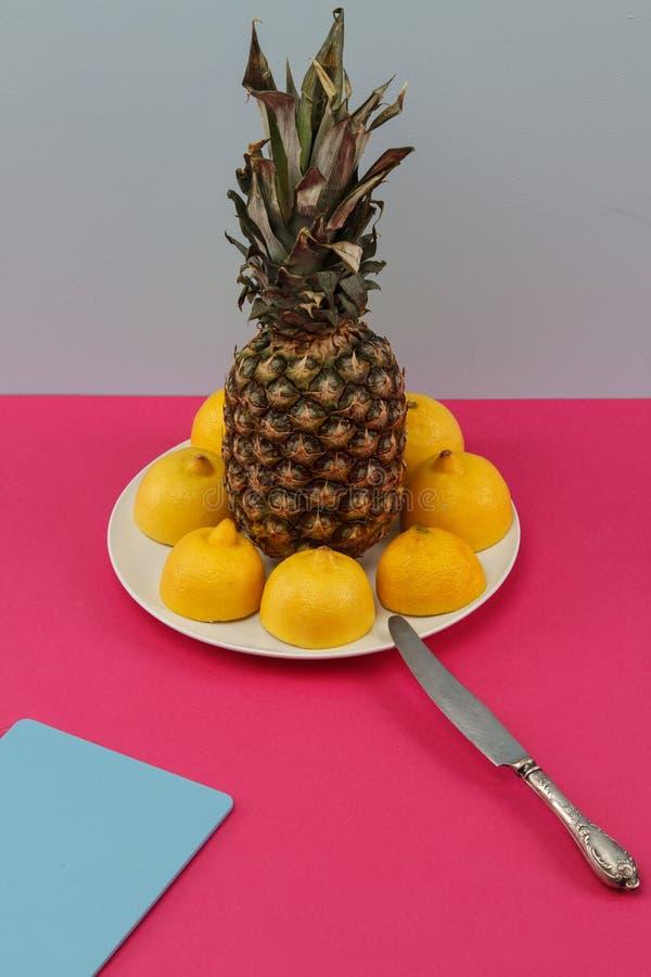 Exotisk fruktpineaple och citroner på en platta royaltyfri bild