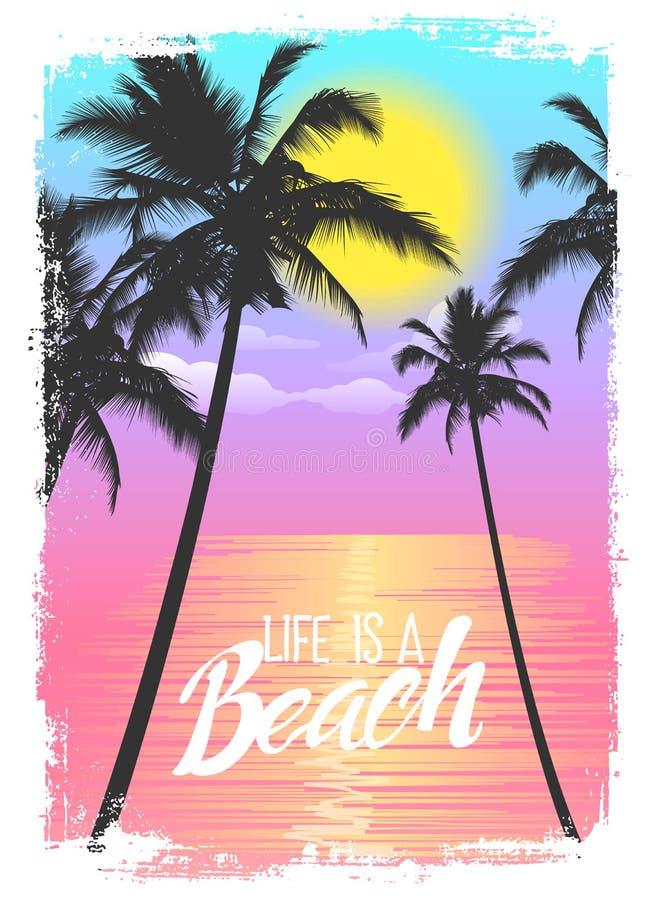 Exotisk loppbakgrund med palmträd Sommartryck för T-tröja vektor illustrationer