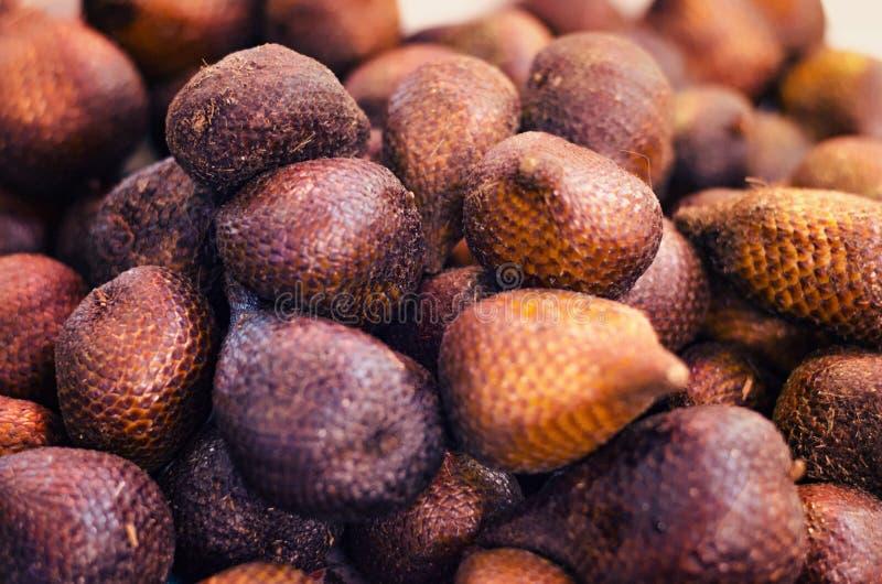 Exotisk ormfrukt Salacca Zalacca eller det lokala namnet kallade Salak skärm för försäljning i marknad royaltyfri bild