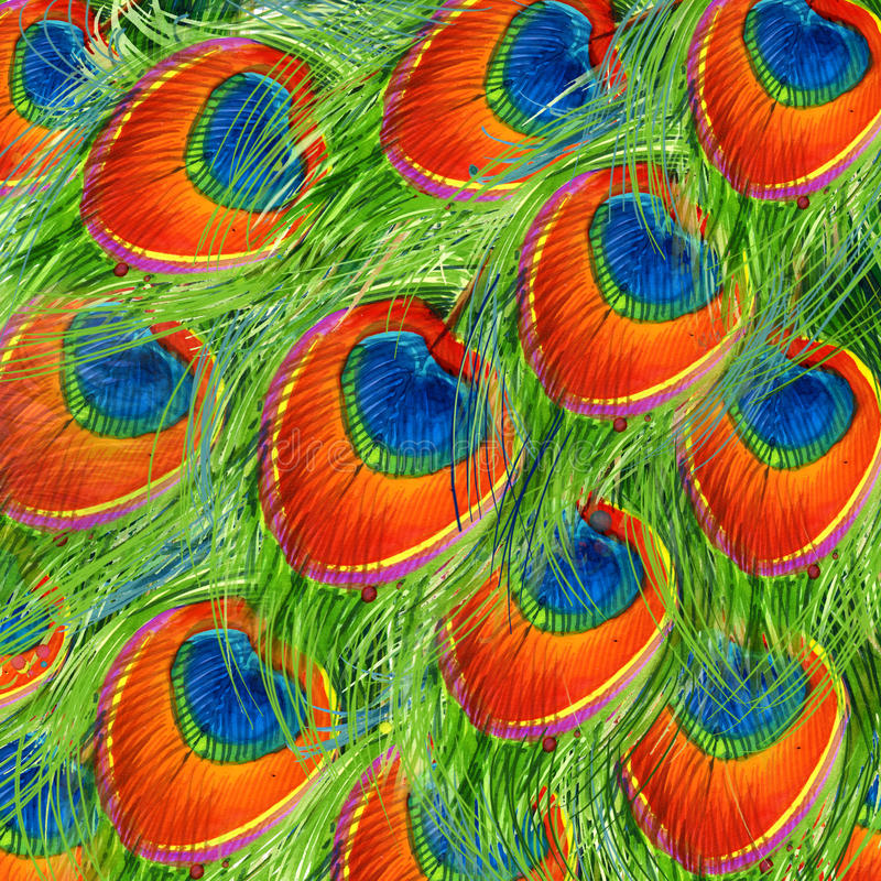 Exotisk påfågelfjäderbakgrund texturerad bakgrund för påfågelfjäderillustration vattenfärg ovanlig illustrationvattenfärg royaltyfri illustrationer