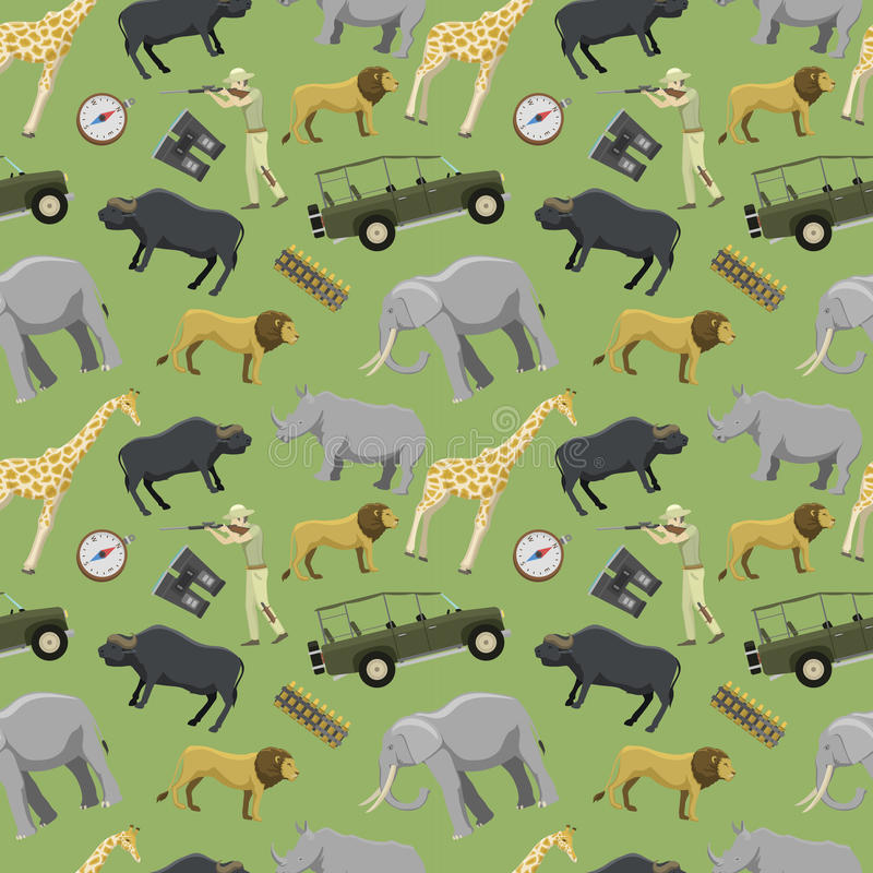 Exotisk safarivilda djur för jägaremanhagelgevär som och africa jagar bakgrund för modell för sportvektorillustration sömlös vektor illustrationer
