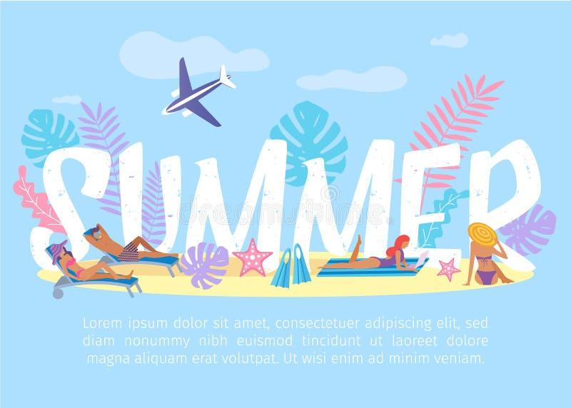 Exotisk semester för sommartid och resabaner stock illustrationer