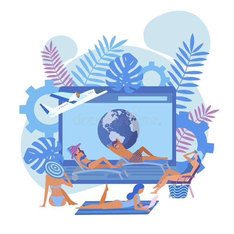 Exotisk semester för sommartid och resabaner vektor illustrationer