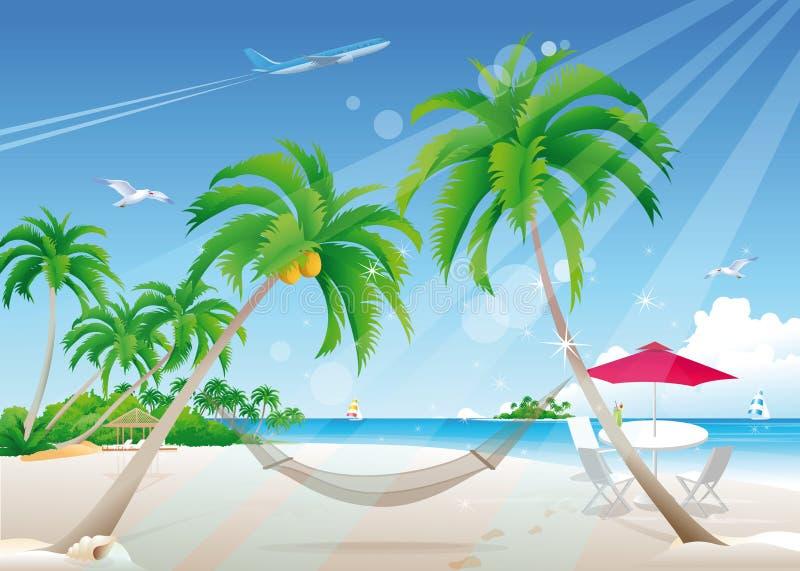 exotisk strand royaltyfri illustrationer