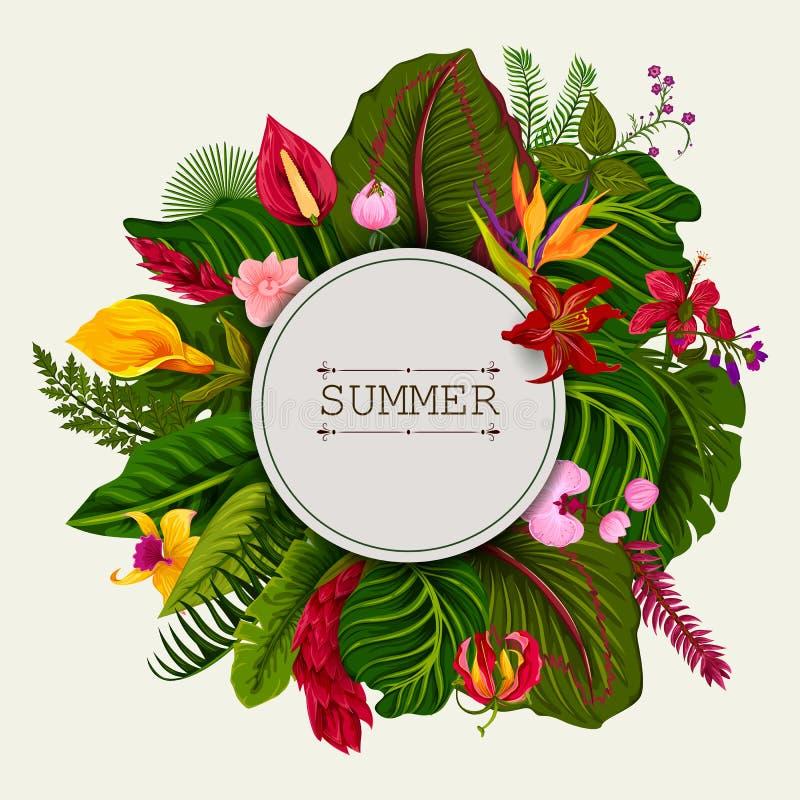 Exotisk tropisk bladbakgrund i vektorn för inbjudanhälsningmall av sommar vektor illustrationer