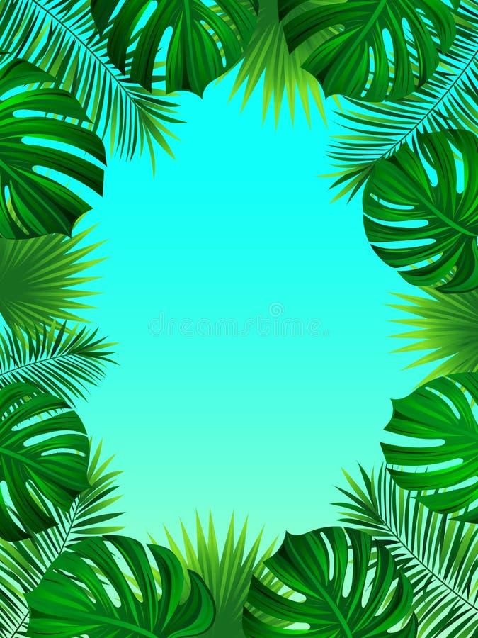 Exotisk tropisk ram med det djungelväxter, palmblad, monstera och stället för din text mot bakgrund field blåa oklarheter för grö stock illustrationer