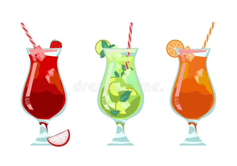 Exotisk tropisk uppsättning för strandstångmeny Alkoholcoctailar - mojito, jordgubbe, Mai Tai apelsin stock illustrationer