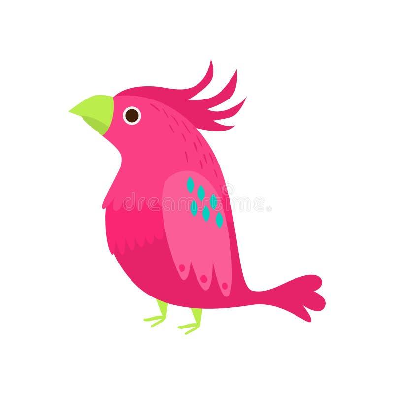 Exotisk zoopapegoja för gullig rosa färgrik kakadua stock illustrationer