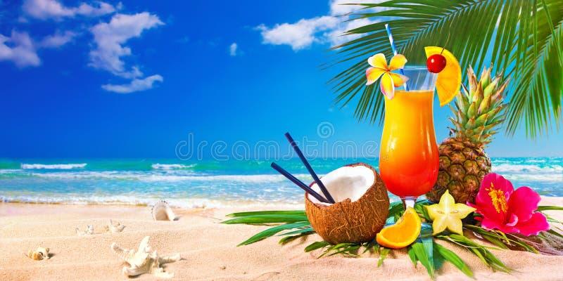Exotiska coctailar som tjänas som på stranden royaltyfri fotografi