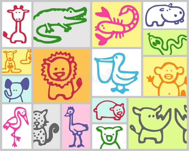 exotiska djur stock illustrationer