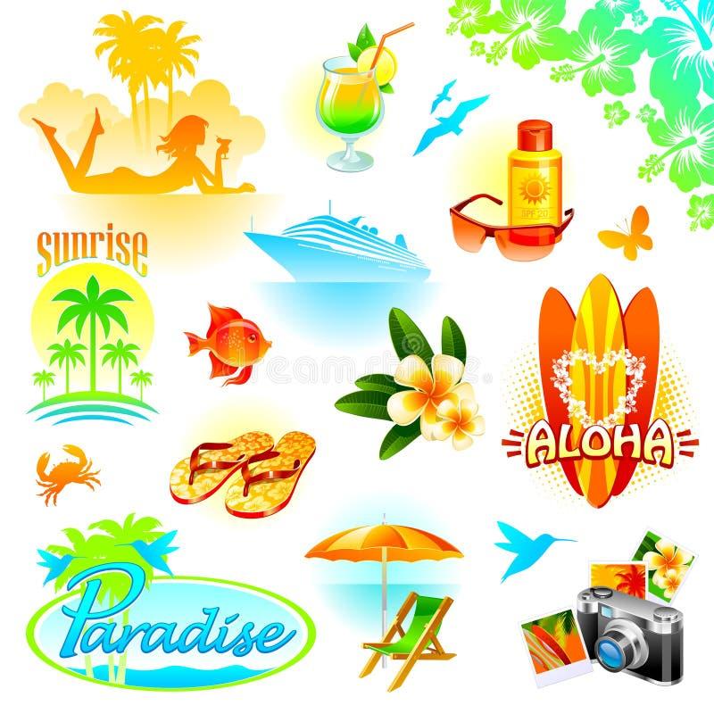 exotiska ferier tillgriper setlopp stock illustrationer