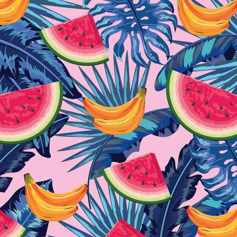 Exotiska frukter med sidaväxtbakgrund stock illustrationer