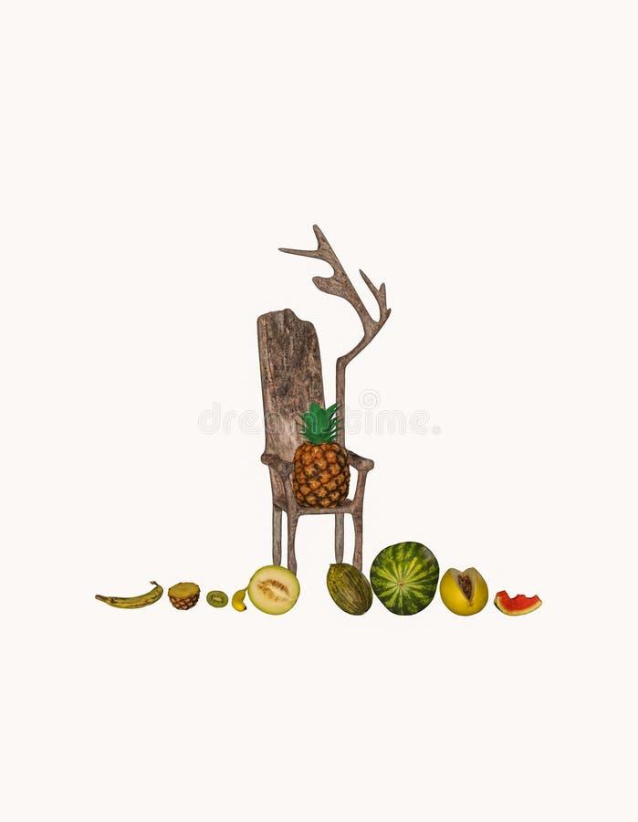 Exotiska frukter och en biskopsstol i vit bakgrund vektor illustrationer