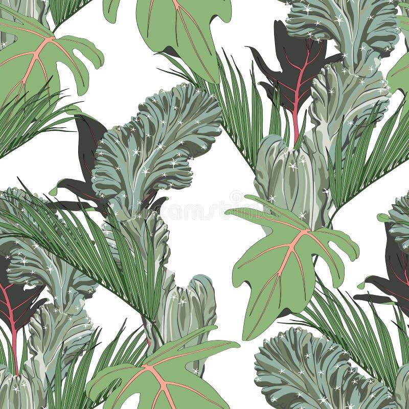 Exotiska sidor, grönt tropiskt gömma i handflatan och kakturs, vit bakgrund seamless blom- modell vektor illustrationer