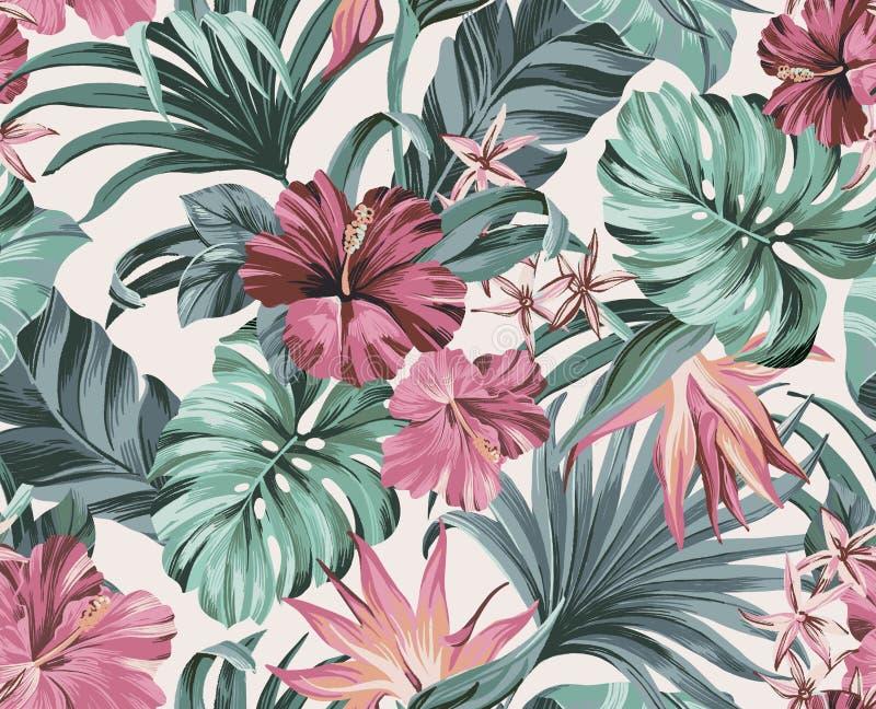 Exotiska tropiska blommor i pastellfärgade färger royaltyfri illustrationer