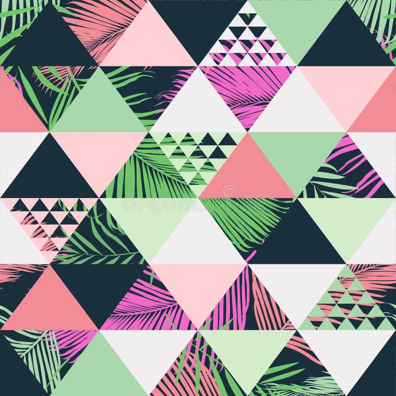 Exotiska tropiska sidor sätter på land den moderiktiga sömlösa modellen, illustrerad blom- vektor Tapettryckbakgrund royaltyfri illustrationer