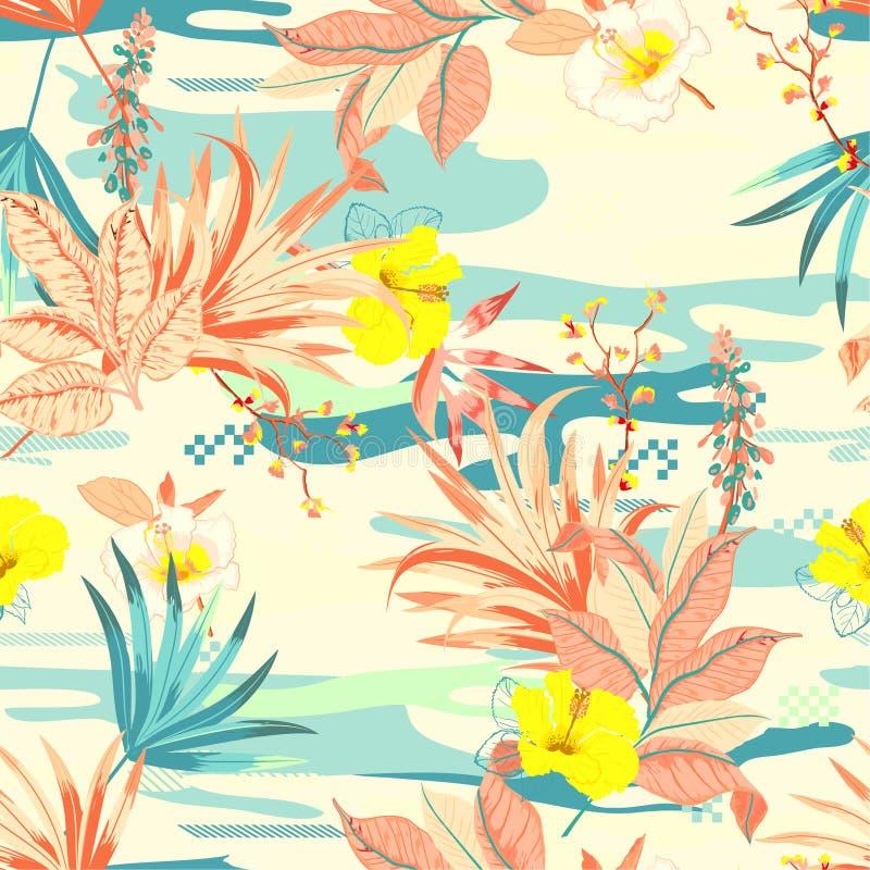 Exotiska växter för Retro färgrik tropisk blommaanfd på kamouflagebakgrunden Seamless modellillustration f?r vektor vektor illustrationer