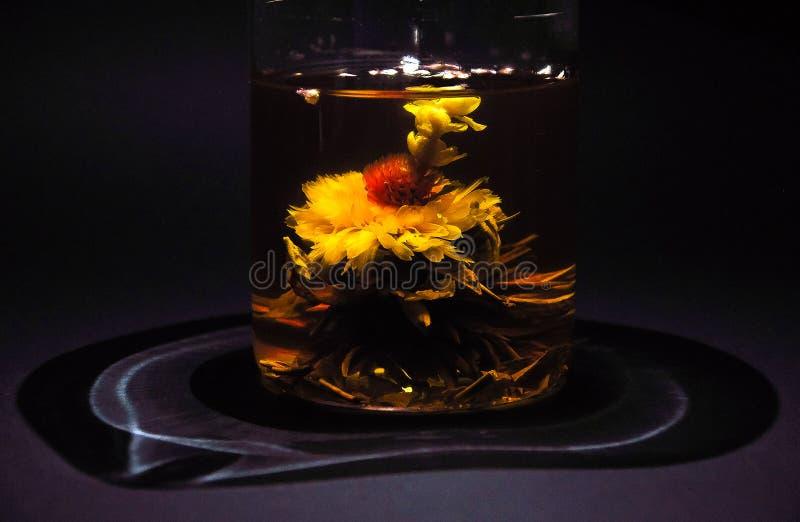 Exotiskt grönt te med blommor i en glass tekanna royaltyfria bilder