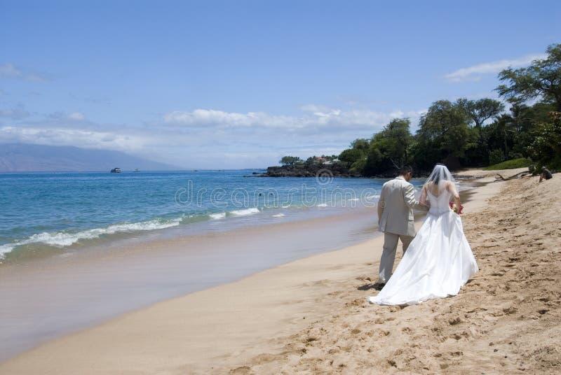 exotiskt med-bröllop för strand wide arkivfoto