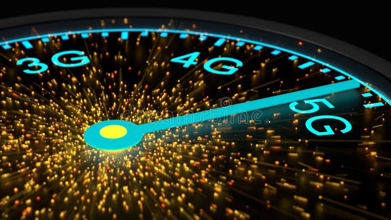 Expédiez l'instrument dans la vitesse maximum de atteinte bleue de la communication 5G illustration libre de droits