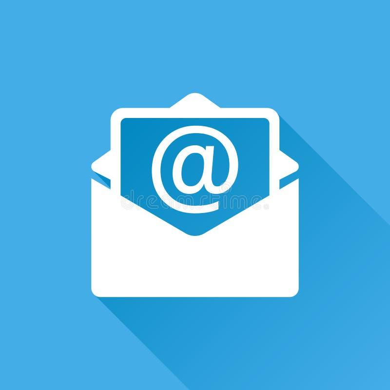 Expédiez le vecteur d'icône d'enveloppe d'isolement sur le fond bleu avec longtemps illustration libre de droits
