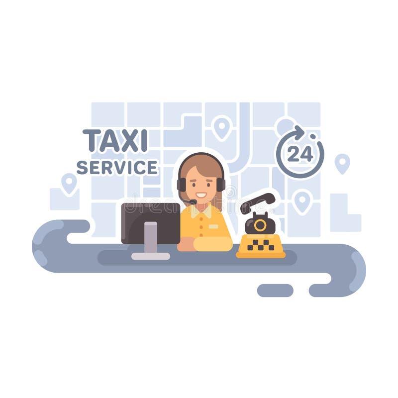 Expéditeur de taxi à son bureau Illustration d'appartement service compris de taxi illustration de vecteur