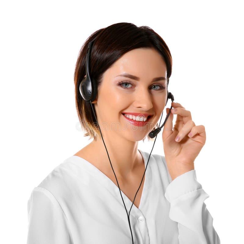 Expéditeur féminin de centre d'appels de support technique sur le fond blanc photo stock