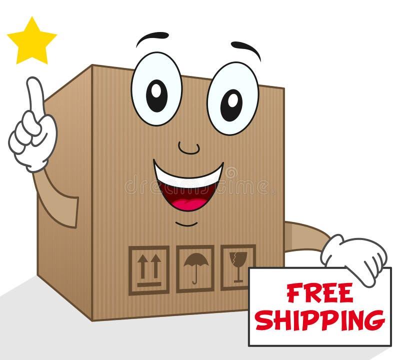 Expédition gratuite de boîte en carton d'expédition illustration de vecteur