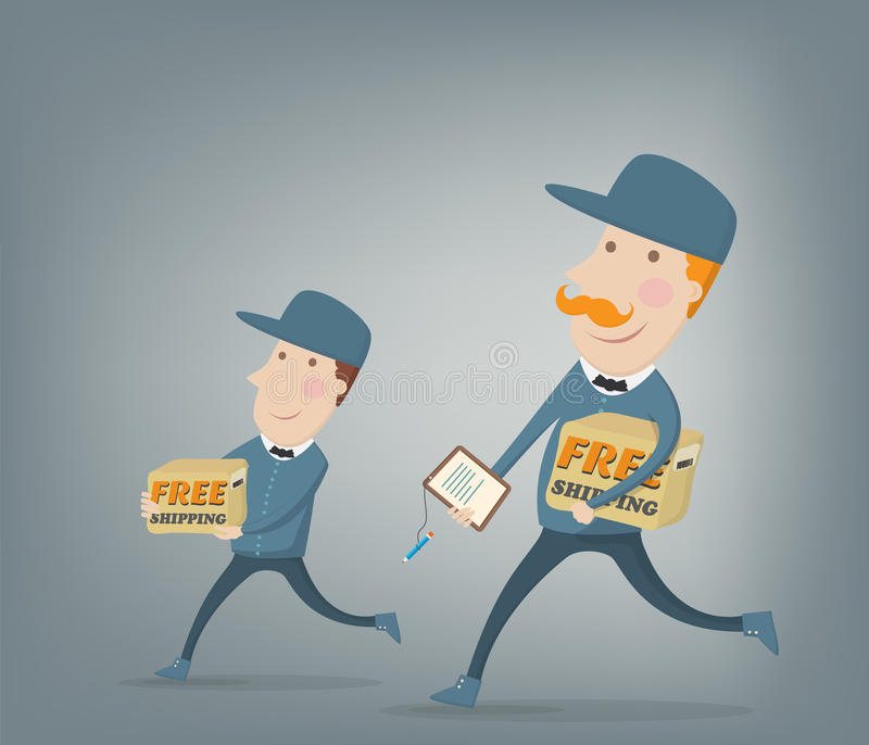 Expédition gratuite. Deux messagers fournissant des paquets illustration libre de droits