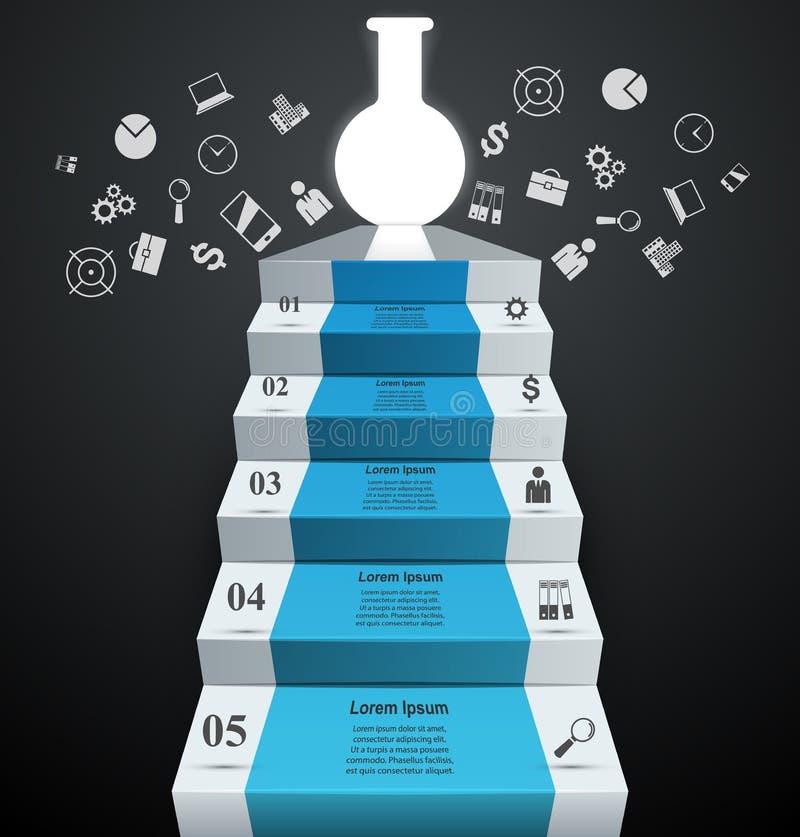 Expériences de tube Infographics abstrait Escalier, illustrat d'échelle illustration stock