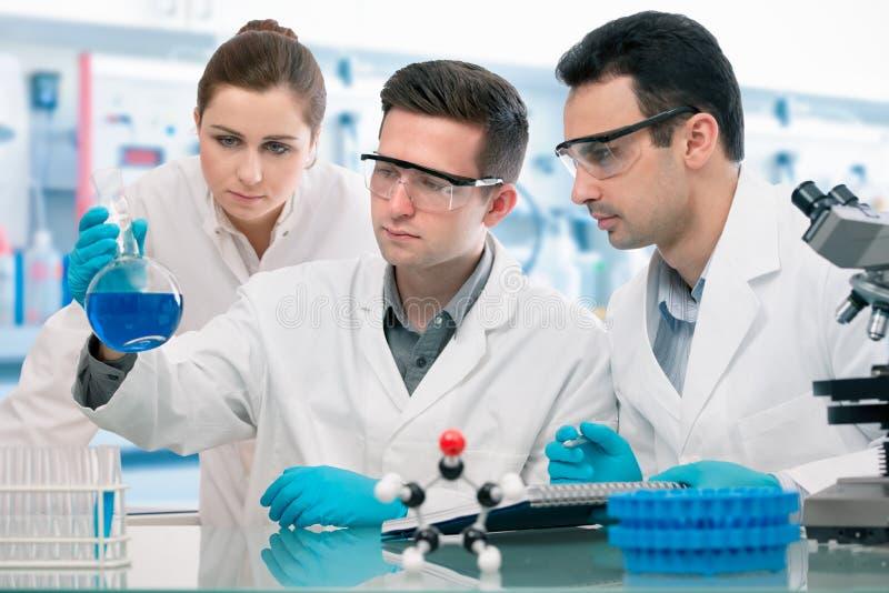 Expérimentation de scientifiques dans le laboratoire de recherche photographie stock libre de droits