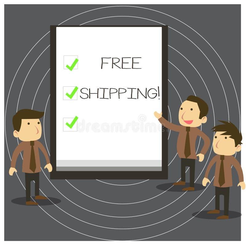 Exp?dition gratuite d'apparence de signe des textes La photo conceptuelle directement livrer au destinataire s est adresse sans f illustration stock