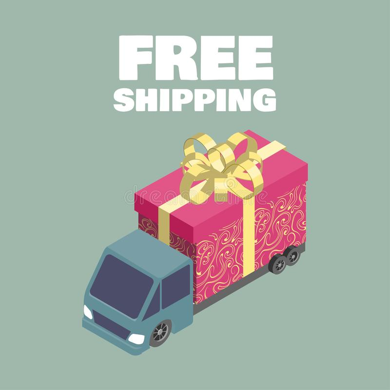Exp?dition libre Camion isométrique avec le boîte-cadeau illustration libre de droits