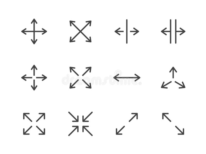 Expand Arrows Minimal Line Icon. Vector Illustration Flat style. Included Icons as Diagonal Increase, Fullscreen royalty free stock images