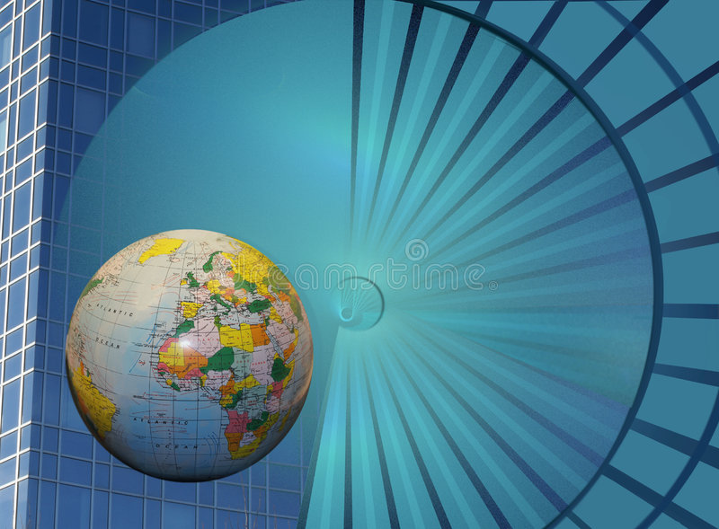 Expand your business. The business building globe and the radial abstract design with the rays (in motion) are metaphors. They are leading to the title Expand vector illustration