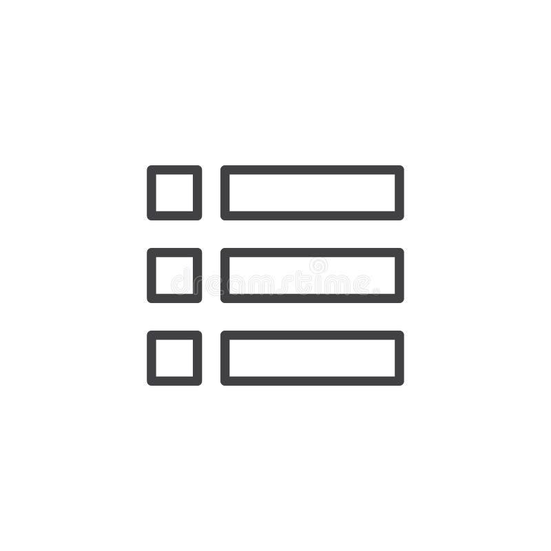 Expanda o ícone do esboço do menu ilustração royalty free