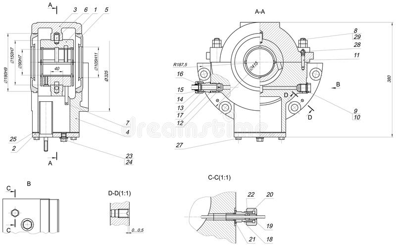 Expanded bearing sketch with different elements. Expanded sketch of bearing with different elements and hatching. Engineering drawing with lines, angle degrees vector illustration