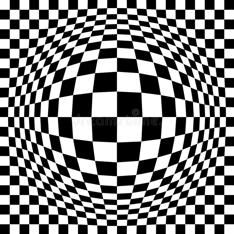 Expanded Optical Check. Expanded checkerboard pattern in black and white repeats seamlessly vector illustration