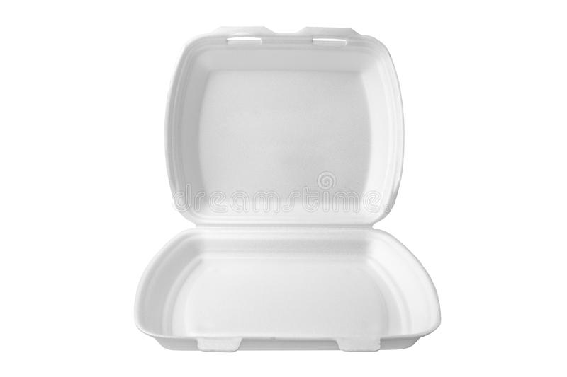 The expanded polystyrene container is open for food products. stock photo
