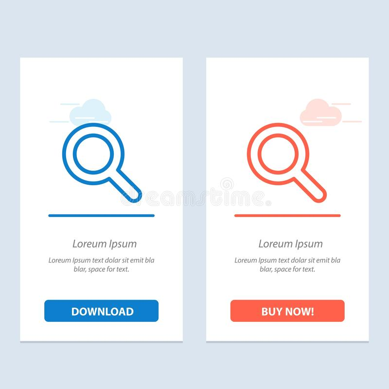 Expanded, Search, Ui  Blue and Red Download and Buy Now web Widget Card Template stock illustration