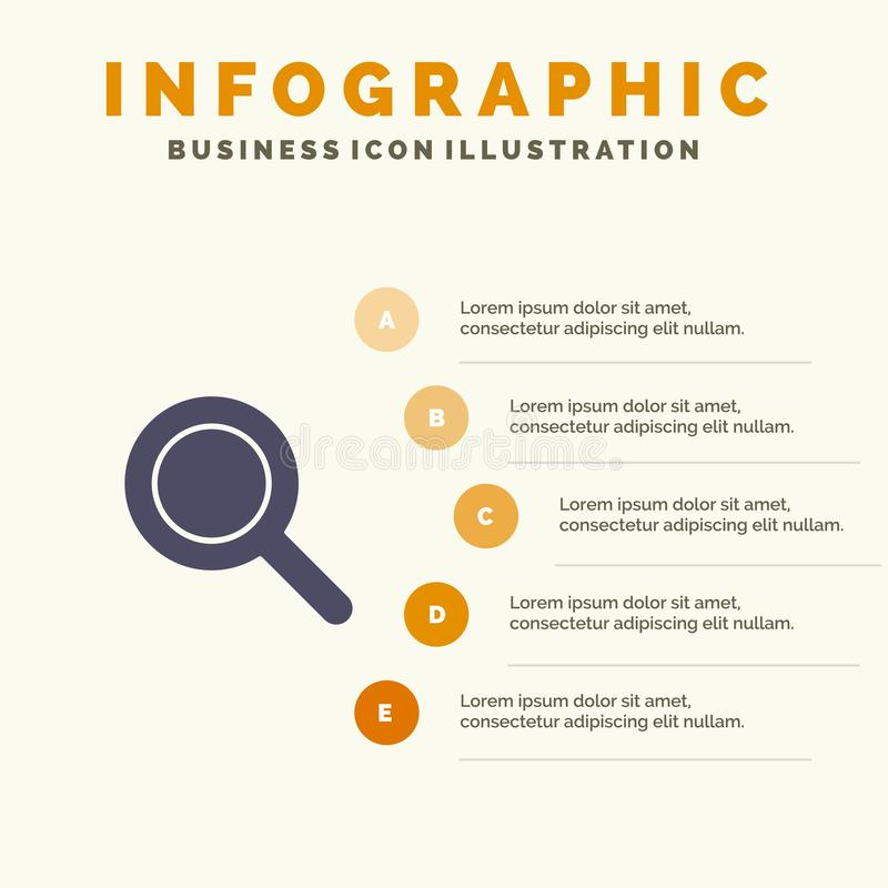 Expanded, Search, Ui Solid Icon Infographics 5 Steps Presentation Background royalty free illustration
