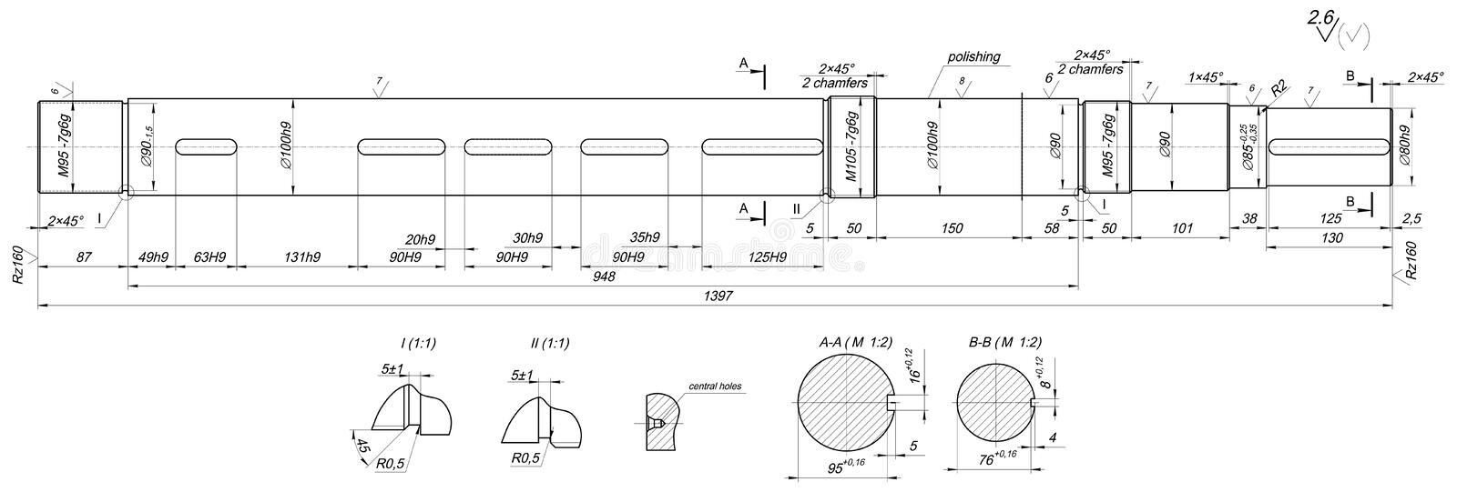 Line Drawing Numbers : Expanded shaft sketch with chamfers and radius stock