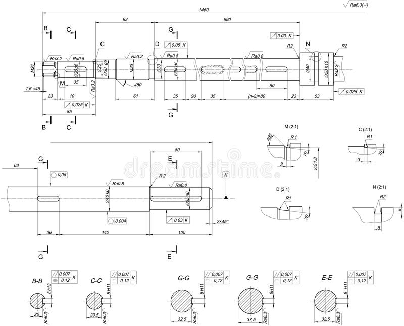 Expanded shaft sketch. Engineering drawing. Expanded sketch of shaft with hatching. Engineering drawing with lines, angle degrees and numbers. Vector image stock illustration