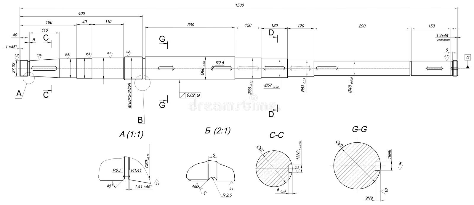 Drawing Lines With Measurements : Expanded shaft sketch with measure stock vector image