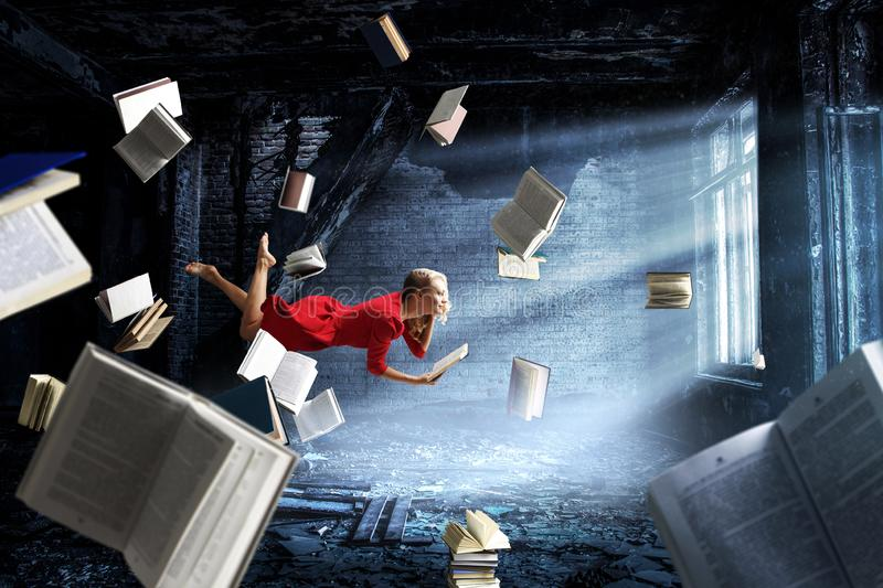Expanding the imagination. Mixed media. Relaxed woman levitates in room full of flying books. Mixed media vector illustration